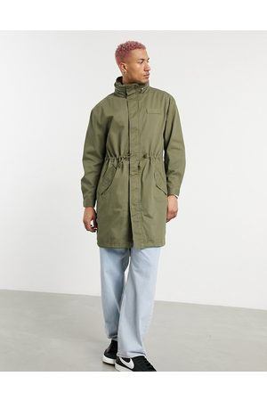 ASOS Muži Parky - Parka jacket with funnel neck in khaki-Green