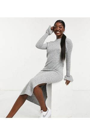 ASOS ASOS DESIGN Tall knitted dress with bell sleeve detail grey marl