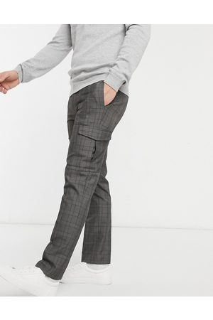 Burton Smart check trousers with cargo pockets in grey