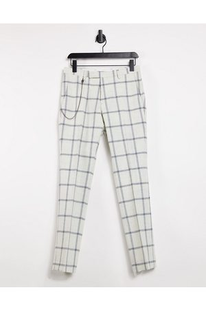 Twisted Tailor Skinny trousers with chain in white windowpane check