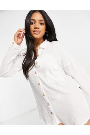 Influence Ženy Volnočasové - Cheesecloth beach shirt dress in white