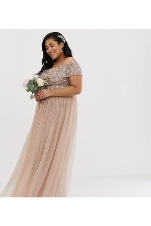 Maya Bridesmaid off shoulder maxi tulle dress with tonal delicate sequin in taupe blush-Brown