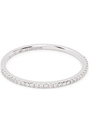 Le Gramme 18kt white gold 1g diamond half pavé ring