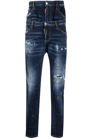 Dsquared2 Double-layer regular-fit distressed denim jeans
