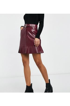 Violet Romance Tall Belted PU mini skirt with pleated hem in burgundy-Brown