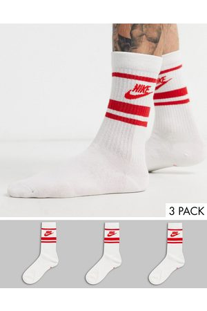 Nike Essential stripe 3 pack socks in white with red logo