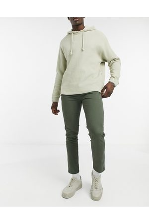 Pull&Bear Skinny fit smart chinos with belt in khaki-Green