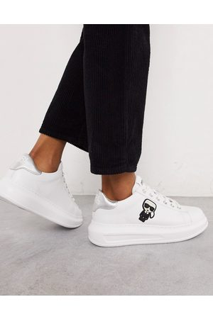 Karl Lagerfeld White leather platform sole trainers with silver trim