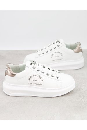 Karl Lagerfeld Maison leather platform sole trainers in white with silver black tab
