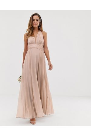 ASOS Bridesmaid ruched bodice drape maxi dress with wrap waist-Pink