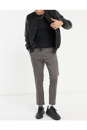 ASOS Muži Chino - Slim trousers in grey with elasticated waist