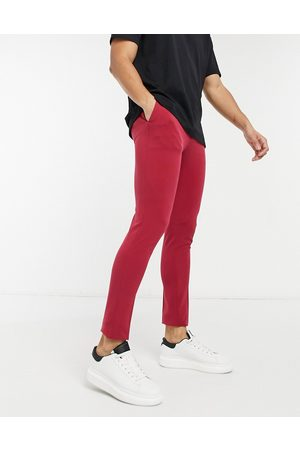 ASOS Extreme super skinny smart trouser in burgundy-Red