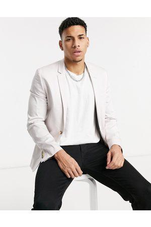 ASOS Super skinny cotton blazer in lilac grey-Purple