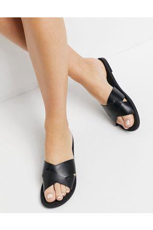 ASOS Facts cross strap mule sandals in black