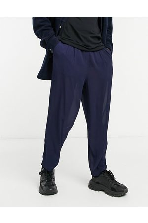ASOS Wide trousers with pleats in chiffon-Navy