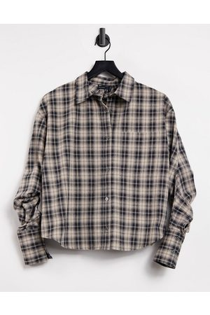 ASOS Check shirt with channel open back detail-Multi
