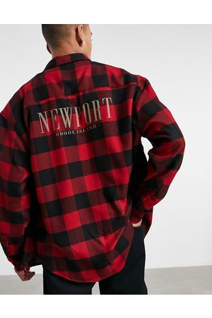 ASOS 90s oversized check shirt with city placement back print-Red