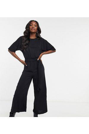 ASOS ASOS DESIGN tall woven tie waist jumpsuit in black