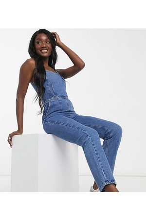 ASOS ASOS DESIGN Tall denim square neck fitted jumpsuit in midwash-Blue