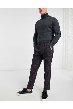 River Island Muži Úzké nohavice - Skinny suit trousers in red check