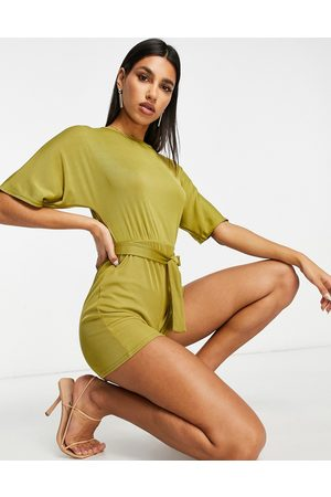 Club L Ribbed playsuit in green