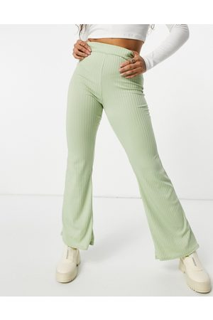 Club L Ribbed flared trousers in sage green co-rd
