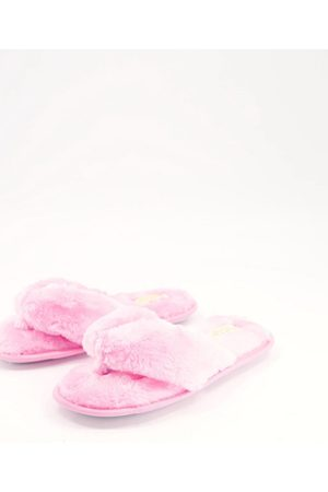 Truffle Collection Faux fur thong slippers in pink