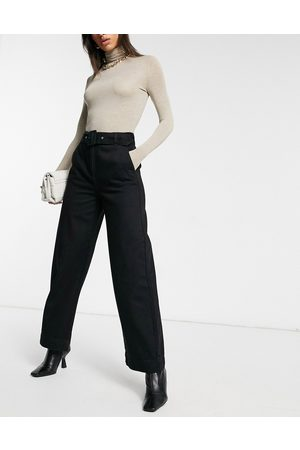 Selected Femme organic cotton wide leg jeans with belt in black
