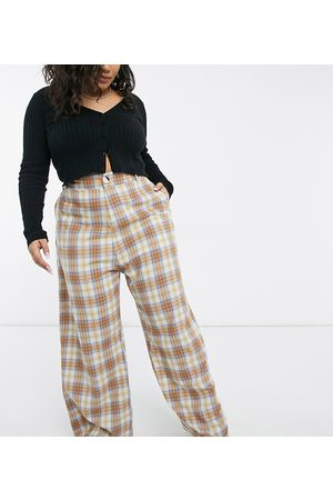 Daisy Street High waist wide leg trousers in check co-ord-Brown