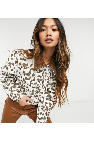 One Above Another Cropped denim trucker jacket in cow print with borg trim co-ord-Multi