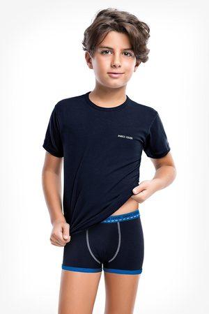 Enrico coveri Modrý komplet chlapeckých boxerek a trička