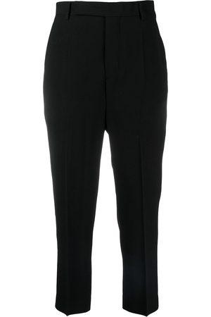 Rick Owens Virgin wool-velvet blend tailored crop trousers