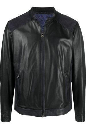 Etro Suede panel leather jacket