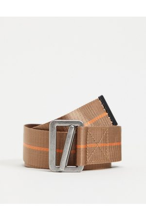 ASOS Long ended belt with brown with orange detail and caribener detail
