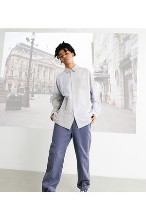 COLLUSION Straight leg trousers in blue twill