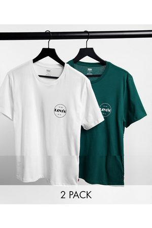Levi's Levi's Exclusive to ASOS 2 pack modern vintage circle logo logo t-shirt in white & forest green-Multi