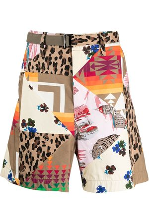 SACAI Patchwork graphic print shorts