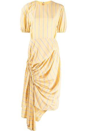 pushBUTTON Striped asymmetric hem dress