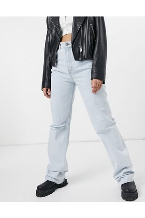 Pull&Bear 90's wide leg jeans with rip in light blue