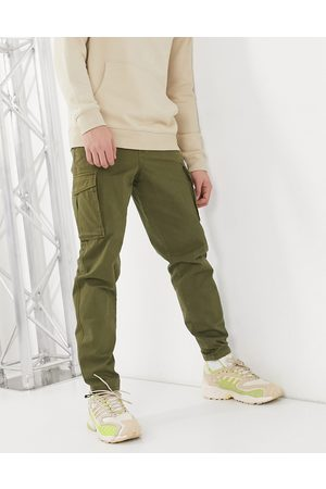 Selected Cargo trouser with cuffed hem in khaki-Green