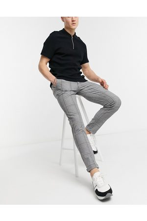 Jack & Jones Muži Chino - Intelligence check trouser in grey-Black
