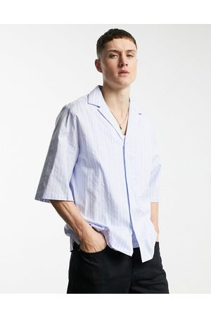 ASOS Relaxed half sleeve shirt with deep revere collar in blue stripe