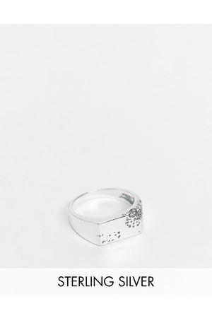 ASOS Sterling silver signet ring with eroded design in burnished silver