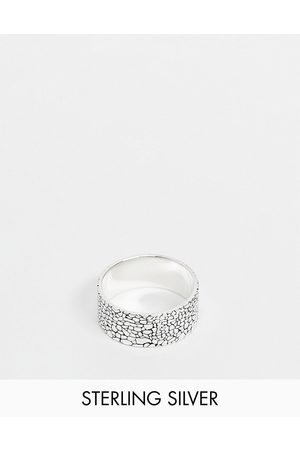 ASOS Sterling silver band ring with texture in silver