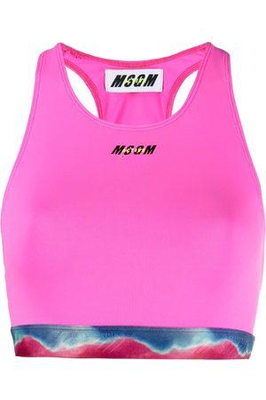 Msgm Ženy Sportovní - Printed waistband logo sports bra