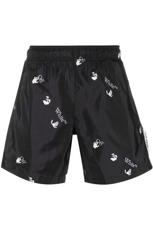 OFF-WHITE OW ALLOVER SWIMSHORTS BLACK WHITE
