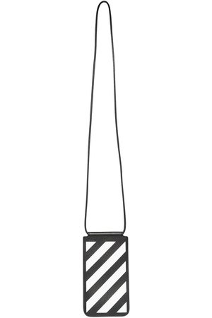 OFF-WHITE DIAG SAFFIANO NECK POUCH BLACK WHITE