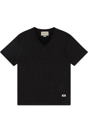 Gucci Double G motif V-neck T-shirt