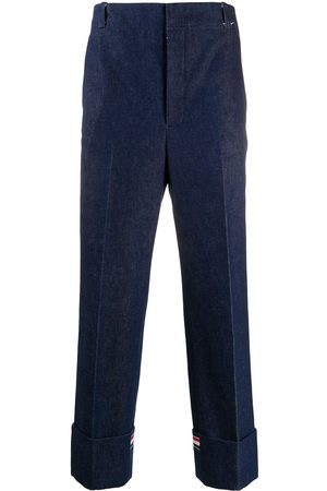 Thom Browne Muži Společenské - Washed denim tailored trousers