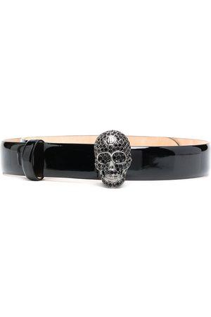 Philipp Plein Crystal-skull patent leather belt